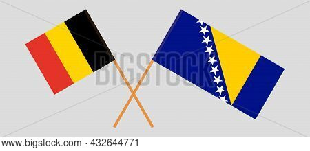 Crossed Flags Of Belgium And Bosnia And Herzegovina