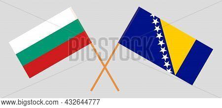 Crossed Flags Of Bulgaria And Bosnia And Herzegovina