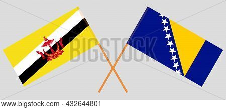 Crossed Flags Of Bosnia And Herzegovina And Brunei