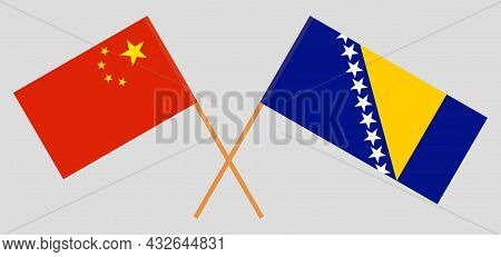 Crossed Flags Of China And Bosnia And Herzegovina
