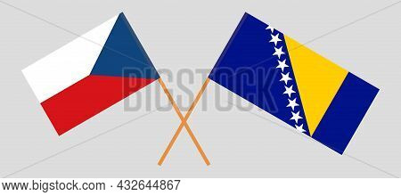 Crossed Flags Of Czech Republic And Bosnia And Herzegovina
