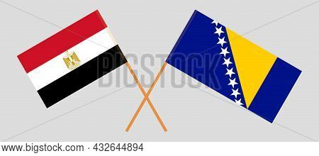 Crossed Flags Of Bosnia And Herzegovina And Egypt