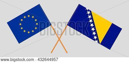 Crossed Flags Of The Eu And Bosnia And Herzegovina