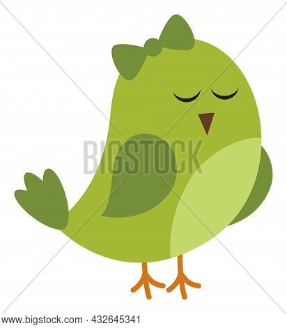Cute Green St. Patrick Bird With Bow. Vector St. Patrick. Green Bird In Love Vector Illustration