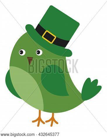 Cute Green Bird Wearing St. Patrick Hat. Vector St. Patrick. St. Patrick Bird Inn Love Vector Illust