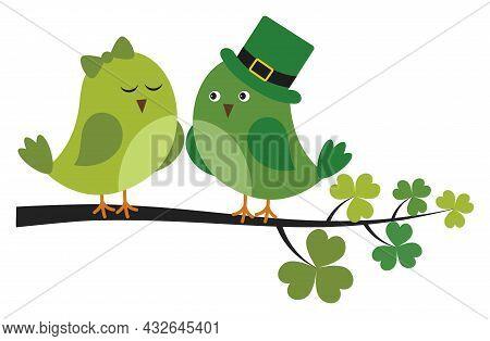 Cute Green Birds Sitting On Shamrock Branch. Vector St. Patrick. St. Patrick Bird In Love Vector Ill