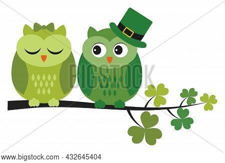 Cute Green Owl Sitting On Shamrock Branch. Vector St. Patrick. St. Patrick Owls In Love Vector Illus
