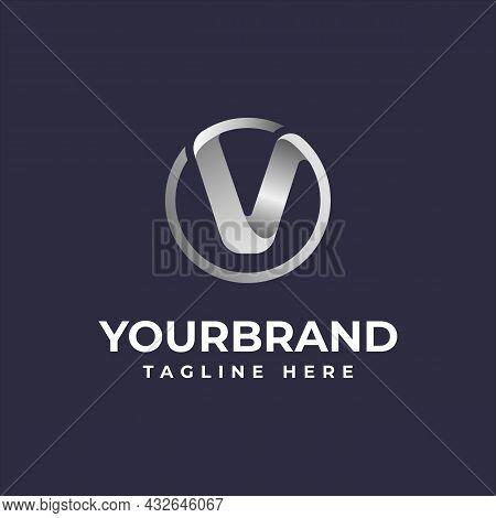 V Initial Letter Circle Logo Elegant Silver Dark Purple Background