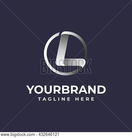 Letter L Circle Logo Elegant Silver Dark Background With Vector Illustration