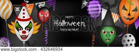 Happy Halloween Banner With Party Balloons, Streamers And Pennants