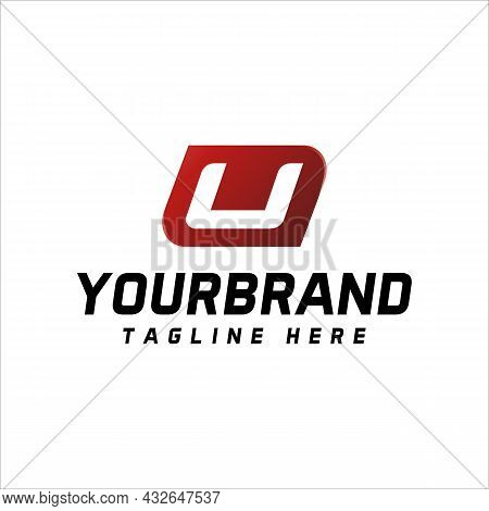 Letter U Logo, Isolated On Red And White, Perfect For Your Business