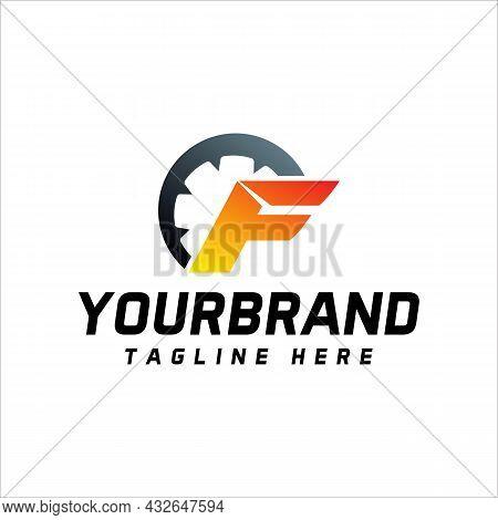 Auto Speed Letter F Logo Template Vector Illustration