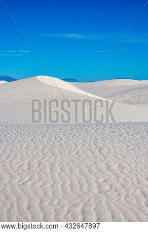 Rippling Field Of Sand Transistions To A Tall Dune In White Sand Dunes National Park