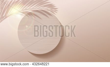 Shadow Of Palm Leafs And Light Leaks. Minimalistic Geometric Background With Wooden Podium. Scene Fo