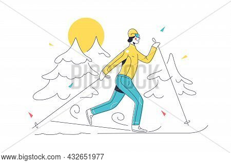 Skiing In Mountains With Equipment Vector Illustration. Ski Resort Landscape In Snow Linear. Ski, Ac