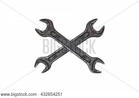 Wrench Hand Locksmith Tool On A White Background. Spanners. Mechanics Tool. Equipment Repair Service