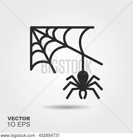 Spider Web And Spider. Flat Silhouette Icon With Shadow