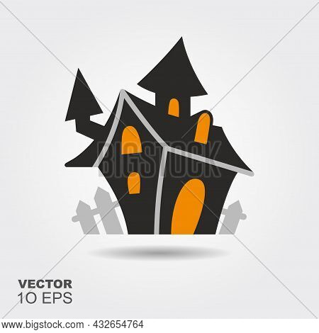 Haunted House. Flat Silhouette Icon With Shadow