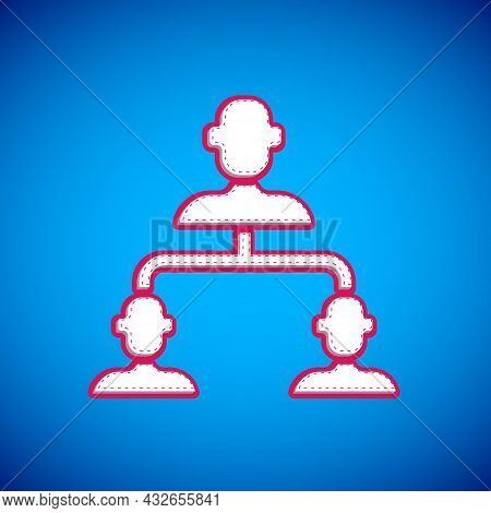 White Business Hierarchy Organogram Chart Infographics Icon Isolated On Blue Background. Corporate O