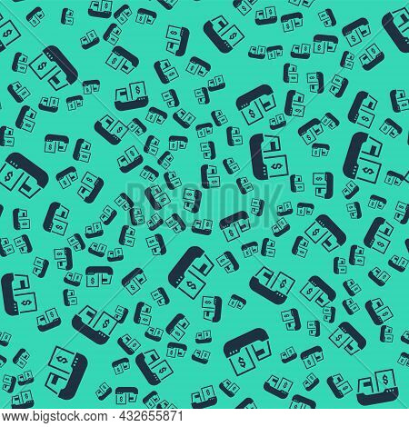 Black Cargo Ship With Boxes Delivery Service Icon Isolated Seamless Pattern On Green Background. Del