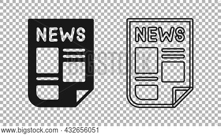 Black News Icon Isolated On Transparent Background. Newspaper Sign. Mass Media Symbol. Vector