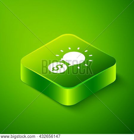 Isometric Light Bulb With Dollar Symbol Icon Isolated On Green Background. Money Making Ideas. Finte