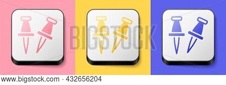 Isometric Push Pin Icon Isolated On Pink, Yellow And Blue Background. Thumbtacks Sign. Square Button
