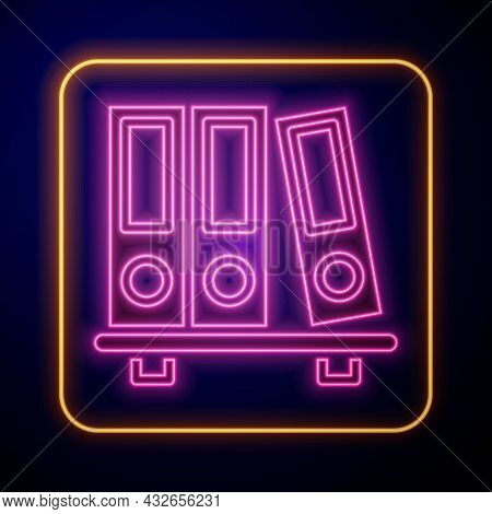 Glowing Neon Office Folders With Papers And Documents Icon Isolated On Black Background. Office Bind
