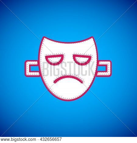White Drama Theatrical Mask Icon Isolated On Blue Background. Vector