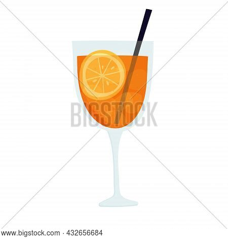 Hand Drawn Vector Illustration Of Aperol Spritz Cocktail In Glass With Ice And Straw. Isolated On Wh
