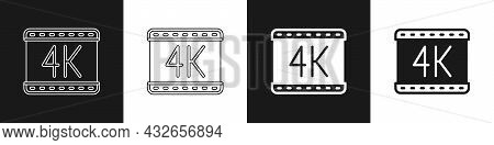 Set 4k Movie, Tape, Frame Icon Isolated On Black And White Background. Vector