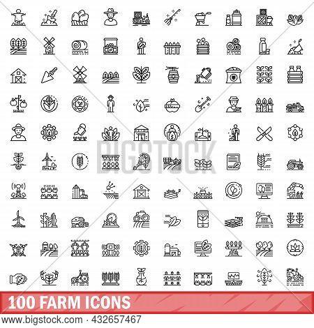 100 Farm Icons Set. Outline Illustration Of 100 Farm Icons Vector Set Isolated On White Background