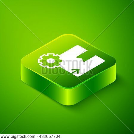 Isometric Gear Wheel With Package Box Icon Isolated On Green Background. Box, Package, Parcel Sign.