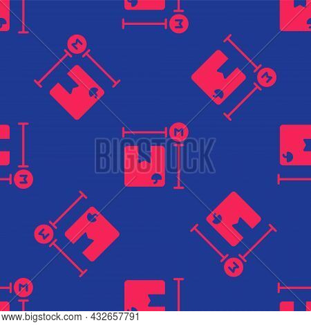 Red Carton Cardboard Box Measurement Icon Isolated Seamless Pattern On Blue Background. Box, Package