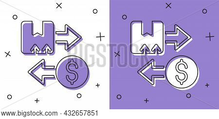 Set Tax Carton Cardboard Box Icon Isolated On White And Purple Background. Box, Package, Parcel Sign