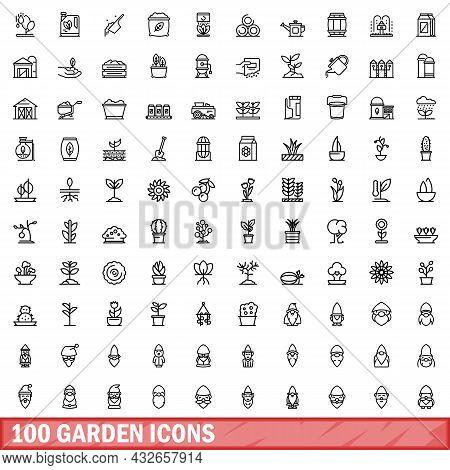 100 Garden Icons Set. Outline Illustration Of 100 Garden Icons Vector Set Isolated On White Backgrou