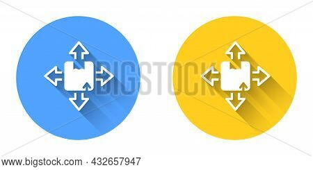 White Carton Cardboard Box Icon Isolated With Long Shadow Background. Box, Package, Parcel Sign. Del