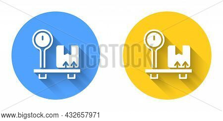 White Scale With Cardboard Box Icon Isolated With Long Shadow Background. Logistic And Delivery. Wei
