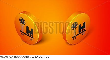 Isometric Scale With Cardboard Box Icon Isolated On Orange Background. Logistic And Delivery. Weight
