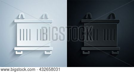 Paper Cut Container Icon Isolated On Grey And Black Background. Crane Lifts A Container With Cargo.