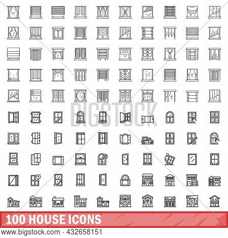 100 House Icons Set. Outline Illustration Of 100 House Icons Vector Set Isolated On White Background
