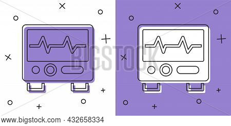 Set Computer Monitor With Cardiogram Icon Isolated On White And Purple Background. Monitoring Icon.