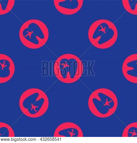Red Tooth With Caries Icon Isolated Seamless Pattern On Blue Background. Tooth Decay. Vector