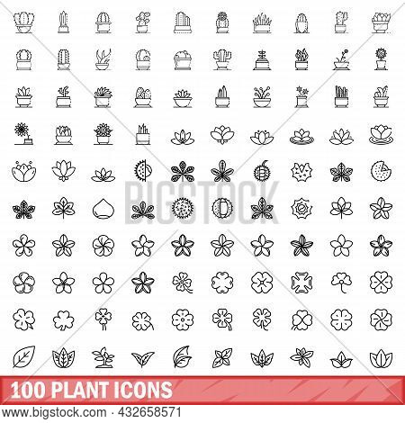 100 Plant Icons Set. Outline Illustration Of 100 Plant Icons Vector Set Isolated On White Background