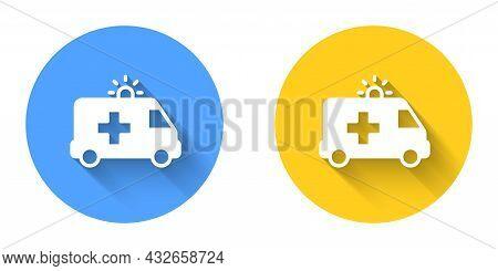 White Ambulance And Emergency Car Icon Isolated With Long Shadow Background. Ambulance Vehicle Medic
