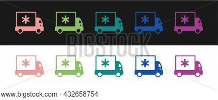 Set Ambulance And Emergency Car Icon Isolated On Black And White Background. Ambulance Vehicle Medic