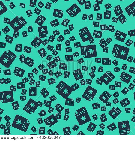 Black Medical Clipboard With Clinical Record Icon Isolated Seamless Pattern On Green Background. Pre