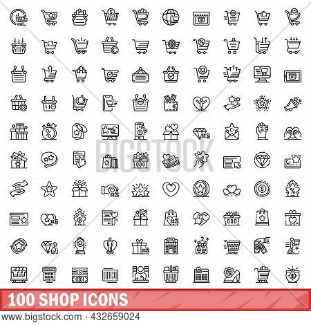 100 Shop Icons Set. Outline Illustration Of 100 Shop Icons Vector Set Isolated On White Background