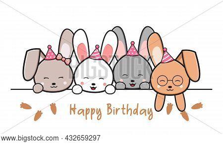 Happy Birthday Greeting Card With Cute Rabbits Doodle Cartoon Illustration Design Flat Cartoon Style
