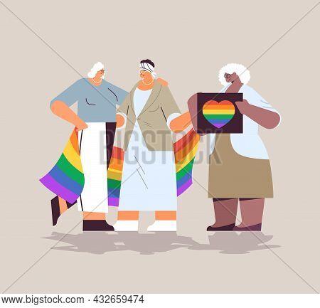 Mix Race Senior Women Group Holding Lgbt Rainbow Flag Lesbian Love Parade Pride Festival Transgender